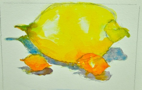 Meyer Lemon and Kumquats, watercolor on paper, 8 x 10 inches