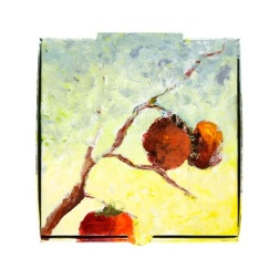 Persimmons on a Pizza Box, acrylic on cardboard, 13 x 13 inches