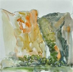 Wapama Falls, watercolor, 8 x 8 inches