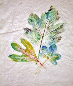 Sassafras, Gum, Oak Leaf Hydrangea, 14 x 16 inches, monoprint, 1 of 1