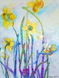 Daffodils, acrylic on board, 20 x 16