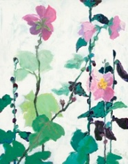 Marblehead Mix: Pink single hollyhocks, acrylic on board, 20 x 16 inches