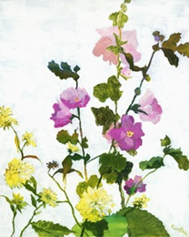 Hollyhocks and Heliopsis, acrylic on board, 20 x 16