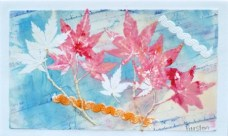 Japanese Maple and French Curve, 12 x 14 inches, monoprint, 2012
