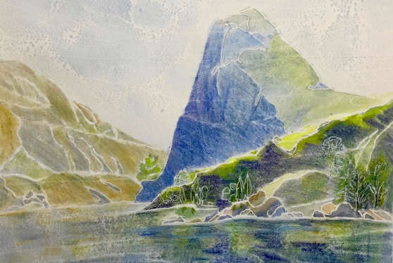 Kolana Peak, white line woodcut, 10 x 12 inches, watercolor monoprint