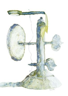 Wooden Microscope, pre 1689, watercolor on Yupo, 16 x 14 inches