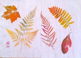 Leaf Print, Walking press monoprint, 16 x 20 inches