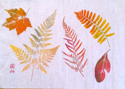 Leaf Print, Walking press monoprint, 16 x 20 inches