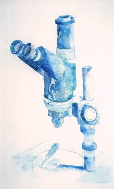 Modern Times, binocular microscope, watercolor on Yupo, 16 x 14 inches