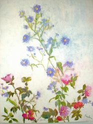 New England Aster and Beach Rose, acrylic on board, 20 x 16