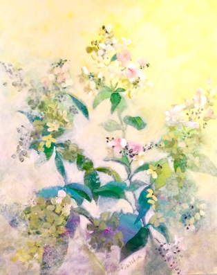Lacecap Hydrangea, early June , acrylic on board, 20 x 16 inches