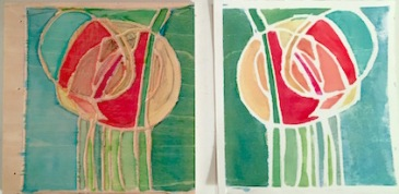 Rose, woodblock on left, print on right, 4 x 4 inches